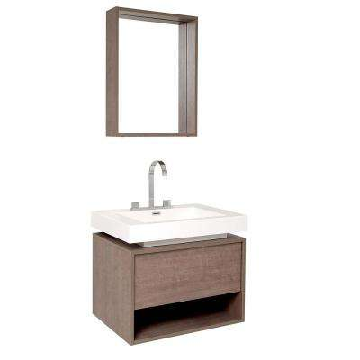 Potenza 28 in. Vanity in Gray Oak with Acrylic Vanity Top in White with White Basin and Mirror