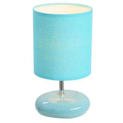 10.5 in. Blue Stonies Small Stone Look Bedside Table Lamp
