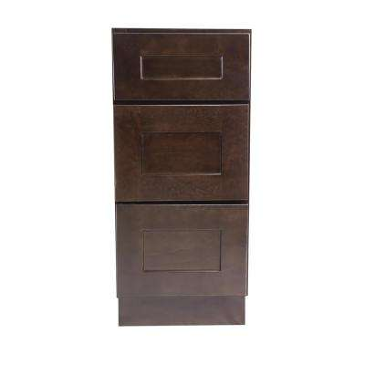 Brookings Fully Assembled 12x34.5x24 in. Kitchen Drawer Base Cabinet in Espresso