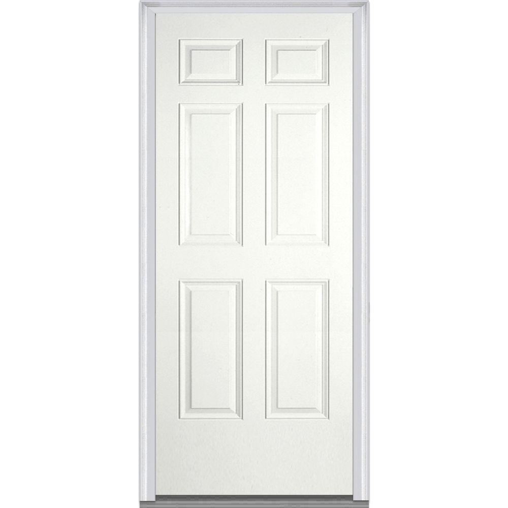 36 in. x 80 in. Left-Hand Inswing 6-Panel Classic Painted Fiberglass Smooth Prehung Front Door