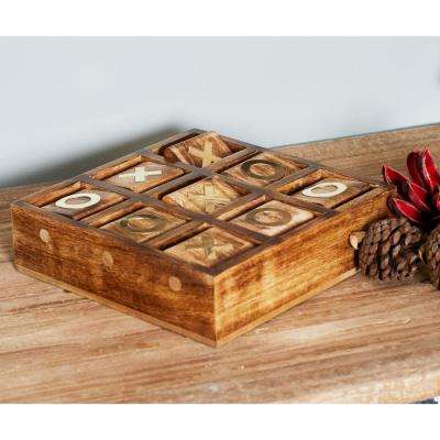 Rustic Brown Wood and Brass Tic Tac Toe Set