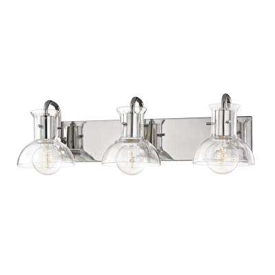 Riley 3-Light Polished Nickel Bath Light with Clear Glass