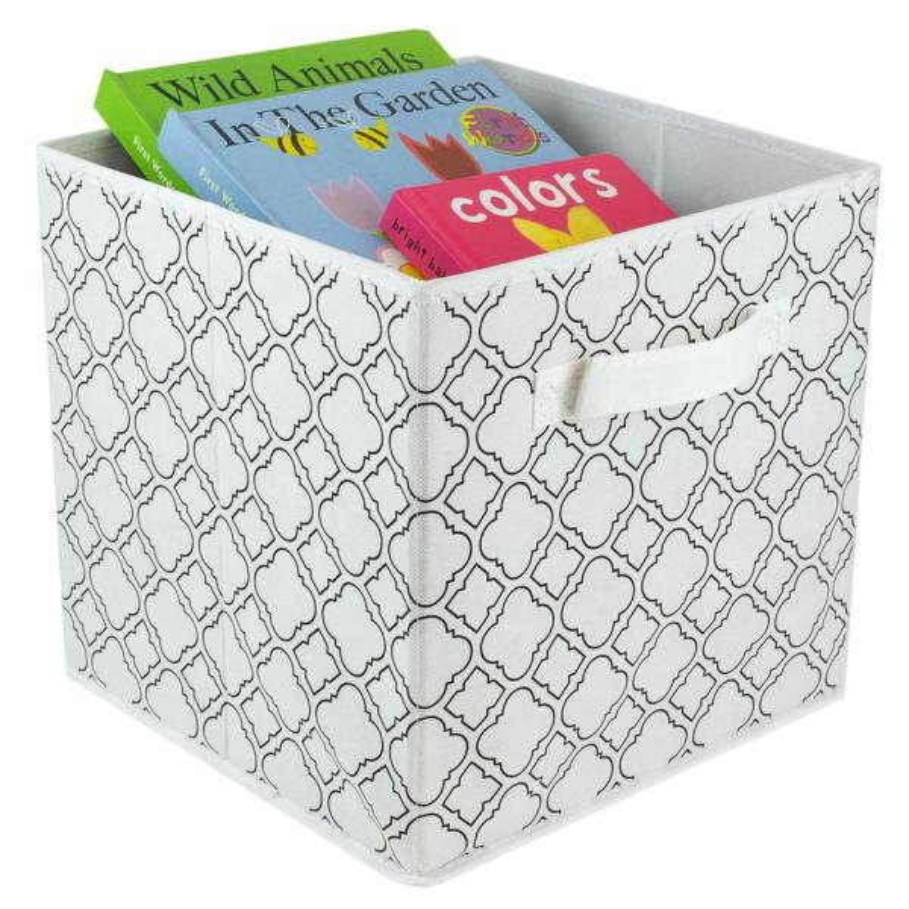 11 In D X 11 In H X 11 In W White Fabric Cube Storage Bin Hdc51555 The Home Depot