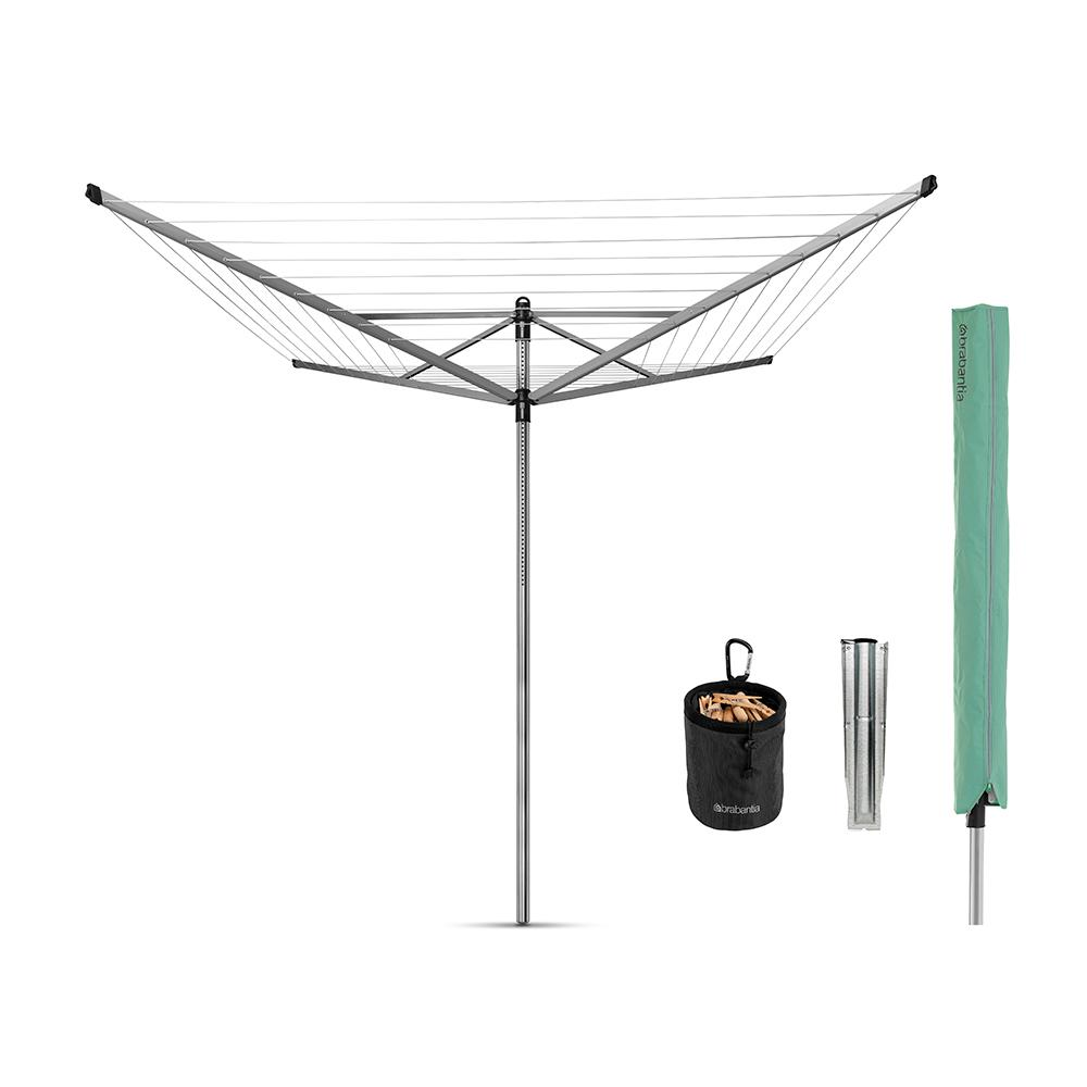 Brabantia 164 ft. Retractable Outdoor Rotary Clothesline Lift-O-Matic with Ground Spike, Peg Bag, Protective Cover and Pegs