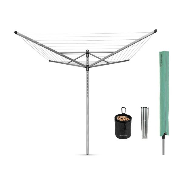 164 ft. Retractable Outdoor Rotary Clothesline Lift-O-Matic with Ground Spike, Peg Bag, Protective Cover and Pegs