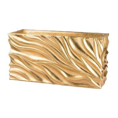 Swirl 31 in. x 12 in. x 16 in. Gold Leaf Fiberglass Table Planter