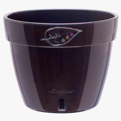Asti 12.6 in. Black-Gold/Black Plastic Self Watering Planter