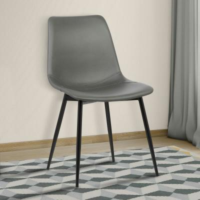 Monte 32 in. Gray Faux Leather and Black Powder Coated Finish Contemporary Dining Chair