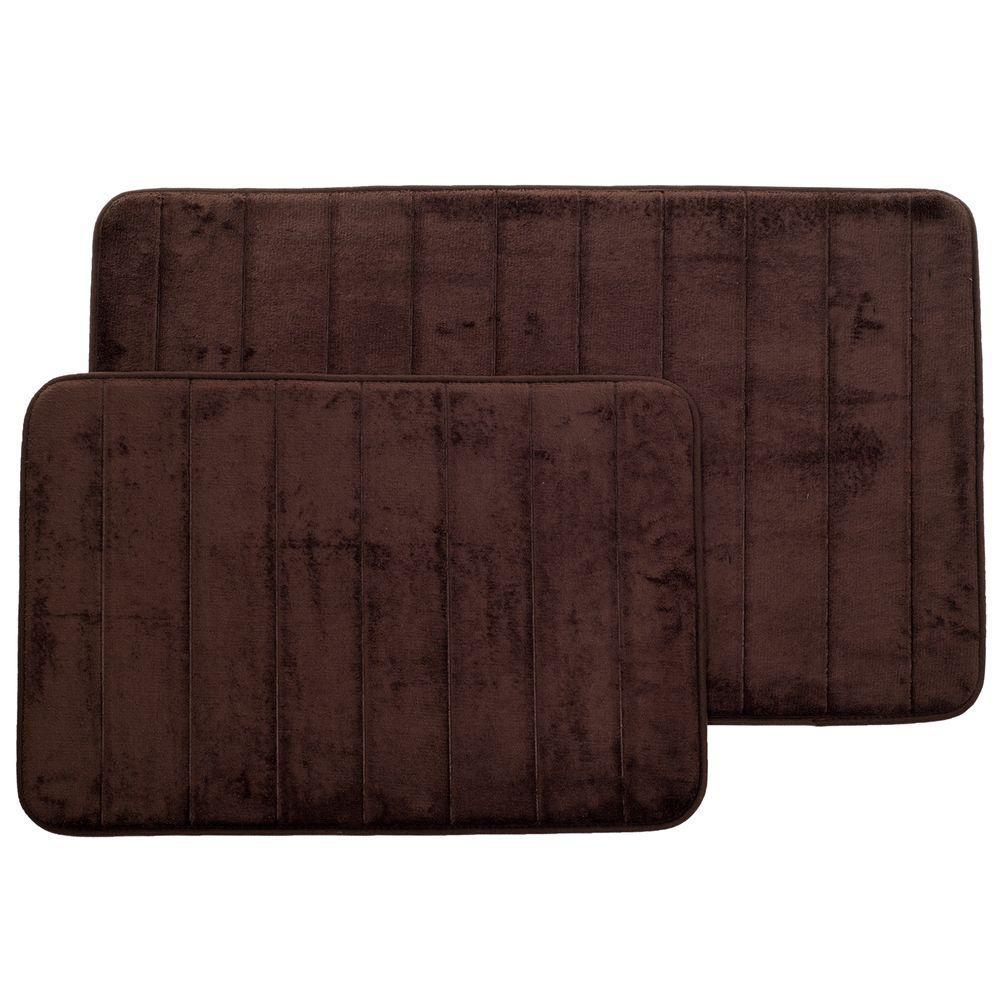 Chocolate 20.25 in. x 32.25 in. Memory Foam 2-Piece Bath Mat Set