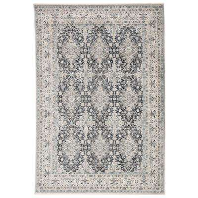 Ioana Power Loomed Dark Blue/Gray 8 ft. 10 in. x 11 ft. 10 in. Medallion Area Rug