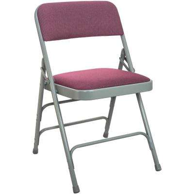 1 in. Burgundy Fabric Seat with Grey Padded Metal Folding Chair (20-Pack)