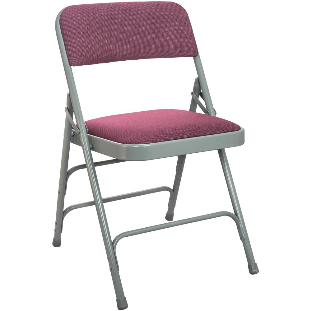 1 in. Burgundy Fabric Seat with Grey Padded Metal Folding Chair
