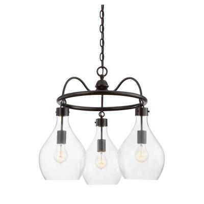 Baker 3-Light Oiled Bronze Chandelier with Clear Glass Shade