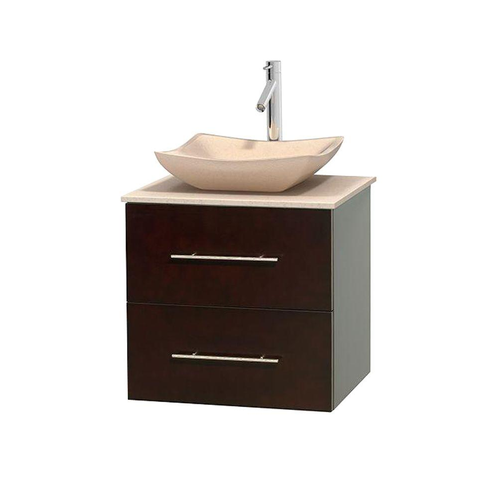 Wyndham Collection Centra 24 in. Vanity in Espresso with Marble Vanity Top in Ivory and Sink