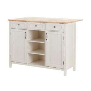 StyleWell Bainport Ivory Wood Kitchen Island with Natural ...