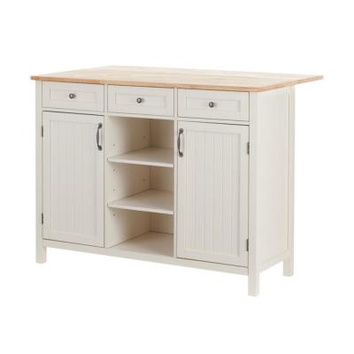 Bainport Ivory Wood Kitchen Island with Natural Butcher Block Top (47.5 in. W x 36 in. H)