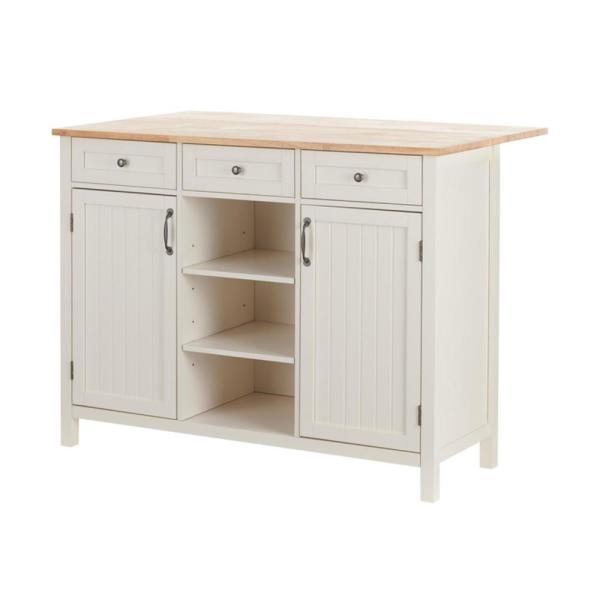 Stylewell Bainport Ivory Wood Kitchen Island With Natural Butcher Block Top 47 5 In W X 36 In H Sk19238dr1 The Home Depot
