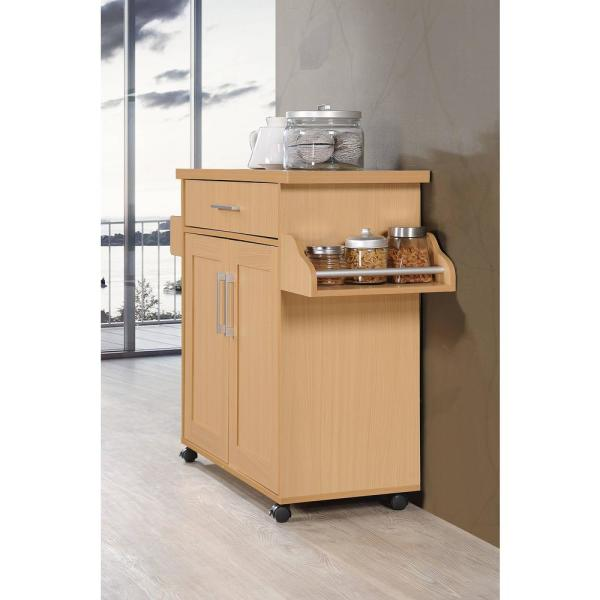 Hodedah Beech Kitchen Island With Spice Rack And Towel Holder Hik78 Beech The Home Depot