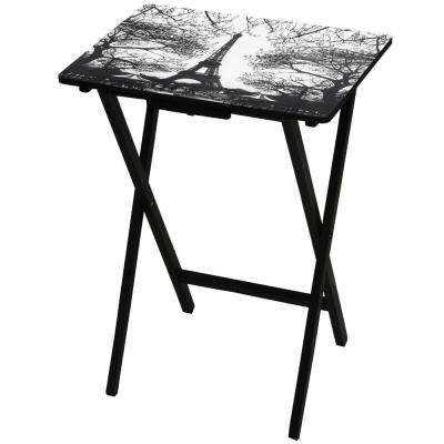 Oriental Furniture 19 in. x 13.75 in. Eiffel Tower TV Tray in Black