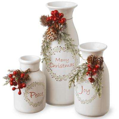 5 in. Peace/6 in. Joy/9 in. Merry Christmas Holiday Antique Milk Bottles Set (Set of 3)