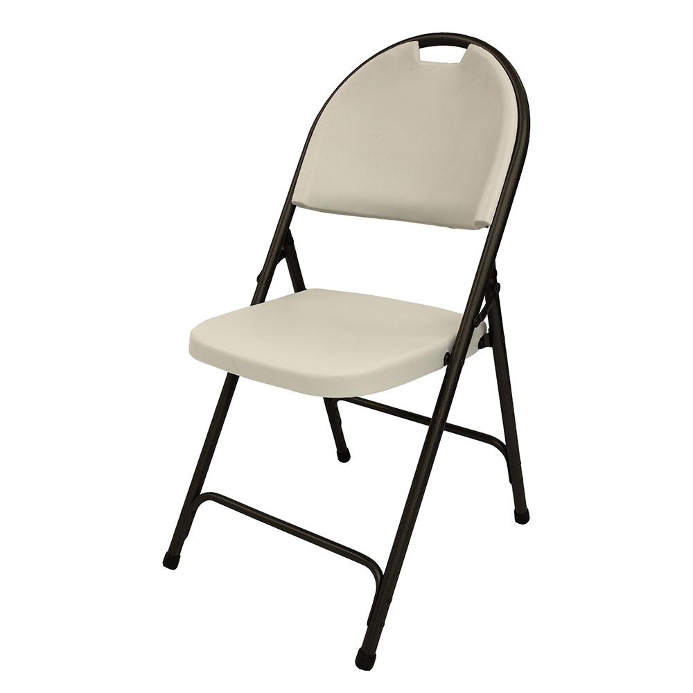 HDX Earth Tan Plastic Seat Outdoor Safe Folding Chair