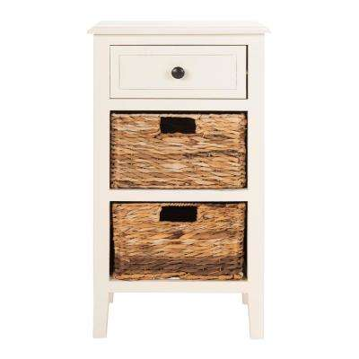 Everly Distressed White Storage Side Table