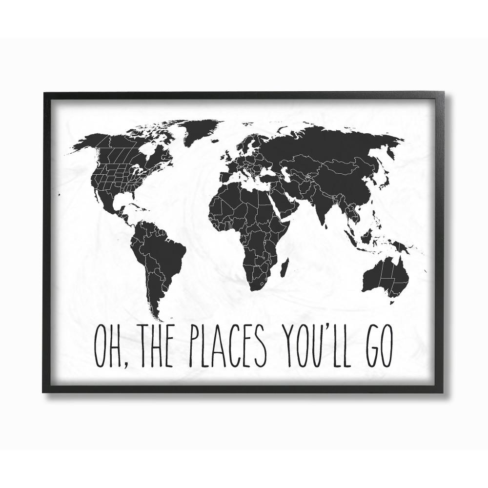 Black And White World Map Framed.Stupell Industries 16 In X 20 In Black And White Map Oh The