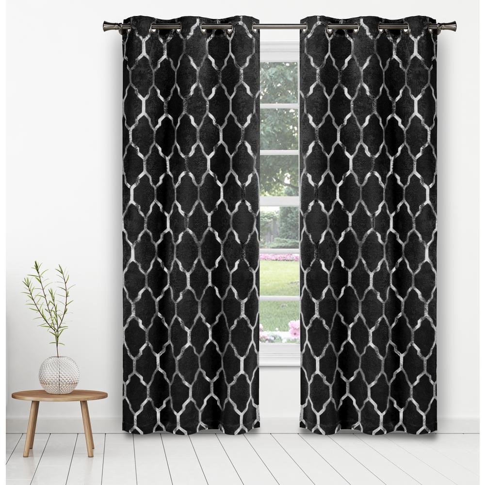 Alena Metallic Black Room Darkening Grommet Panel Pair - 38 in. W x 84 in. L in (2-Piece)