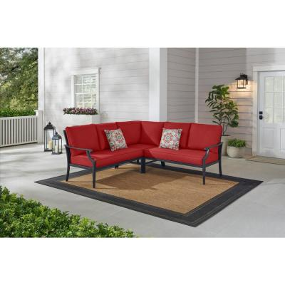 Braxton Park 3-Piece Black Steel Outdoor Patio Sectional Sofa with CushionGuard Chili Cushions