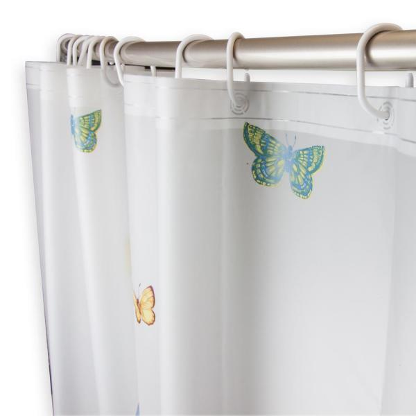 Rod Desyne 71 in. x 71 in. Tranquil Floating Butterflies Shower Curtain