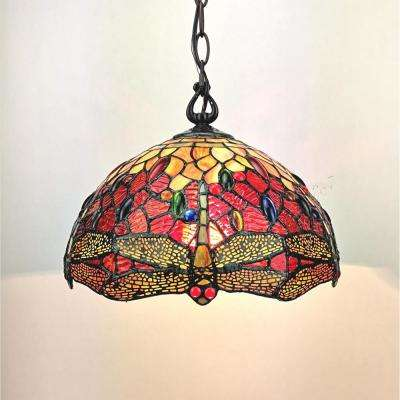 2-Light Tiffany Style Red Dragonfly Hanging Pendant