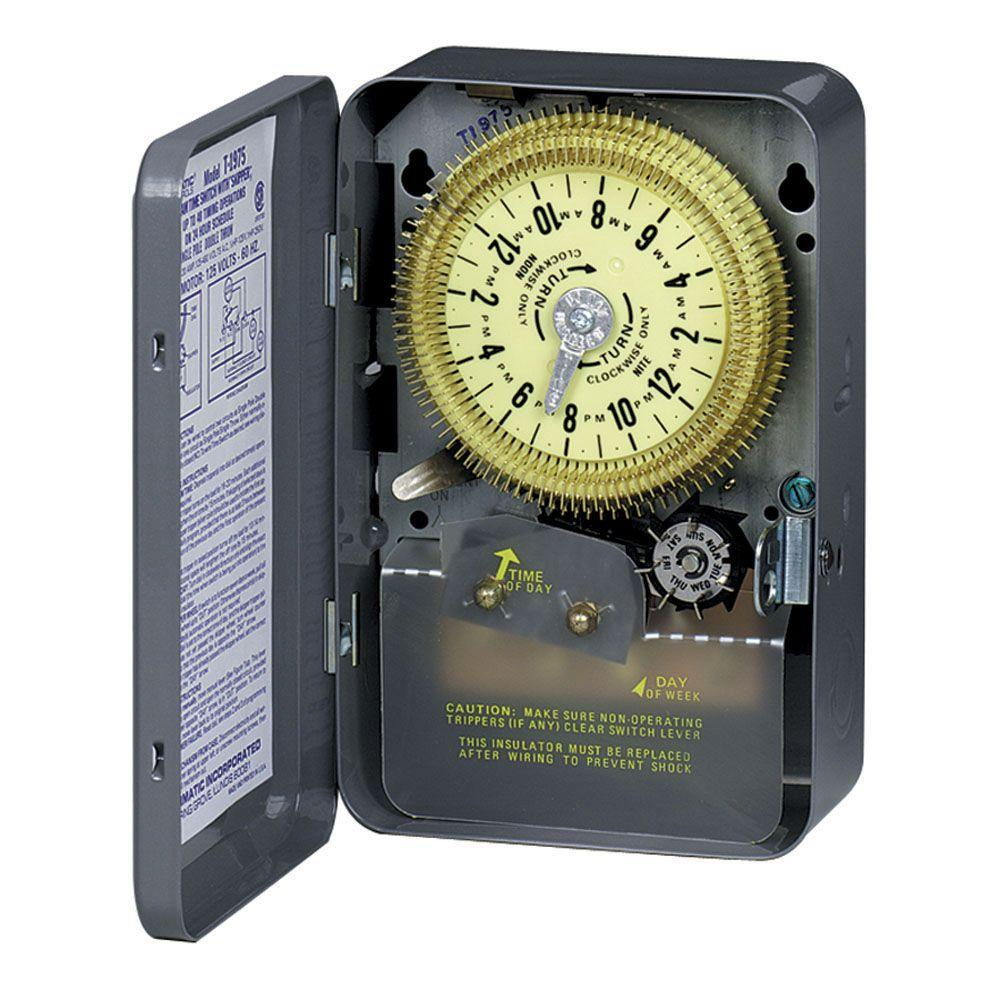 Intermatic T1970 Series 20-Amp 24-Hour Mechanical Time Switch with Skipper and Indoor Enclosure - Gray