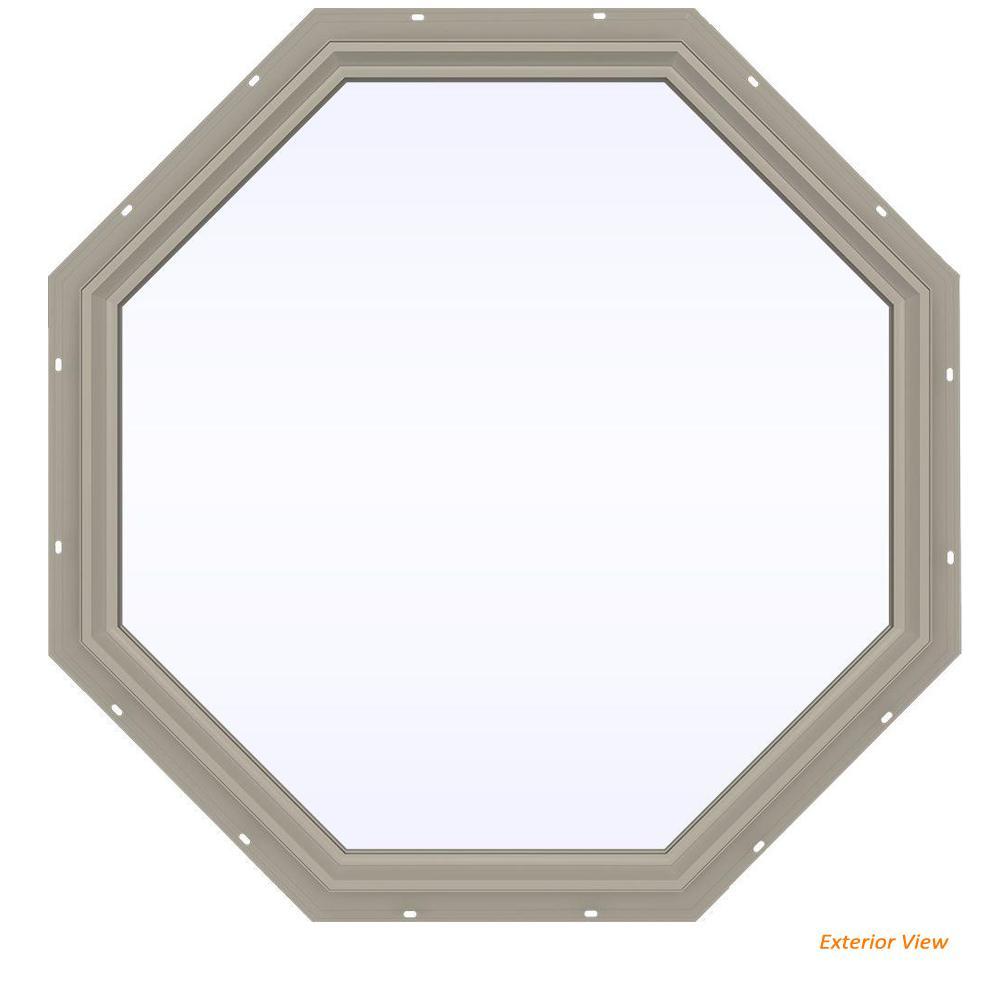 47.5 in. x 47.5 in. V-2500 Series Desert Sand Vinyl Fixed Octagon Geometric Window w/ Low-E 366 Glass