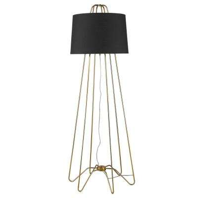 Lamia 64 in. 1-Light Gold Floor Lamp