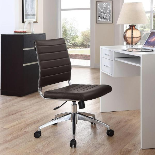 MODWAY Jive Armless Mid Back Office Chair in Brown EEI-1525-BRN