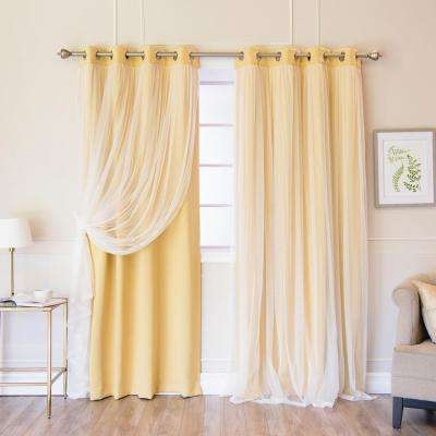 84 in. L Marry Me Lace Overlay Blackout Curtain Panel in Sunlight (2-Pack)