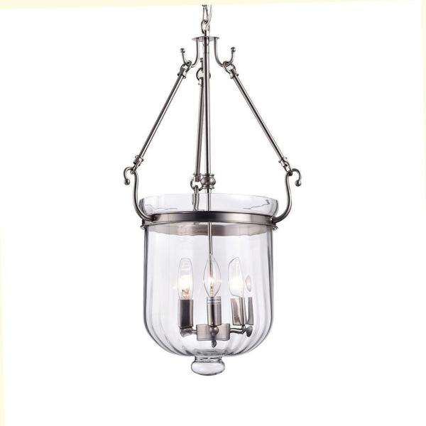 Winfield 14 in. 3-Light Indoor Silver Finish Pendant Lamp with Light Kit