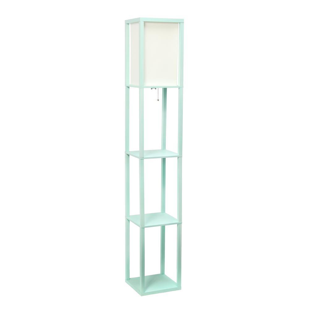 63.3 in Etagere Aqua Floor Lamp Organizer Store Shelf with Linen Shade