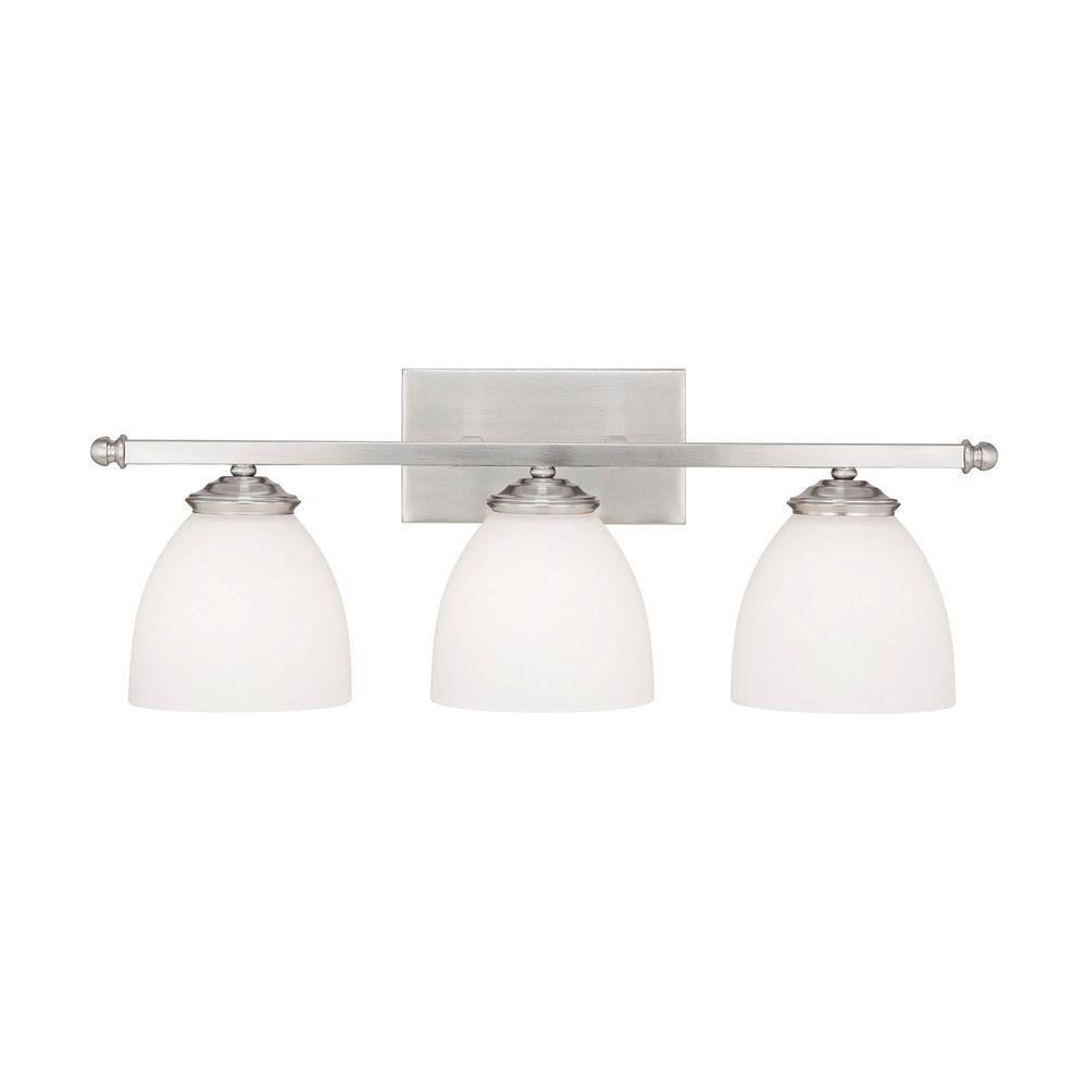 Johnson 3-Light Matte Nickel Incandescent Bath Vanity Light