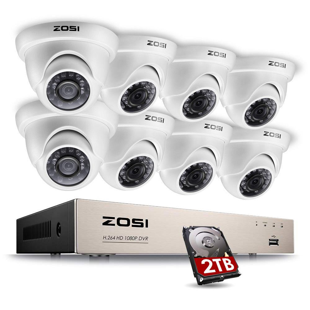 ZOSI 8-Channel 1080p 2TB Hard Drive DVR Security Camera System with 8 Wired Dome Cameras