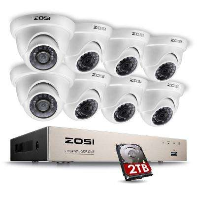 8-Channel 1080p 2TB Hard Drive DVR Security Camera System with 8 Wired Dome Cameras