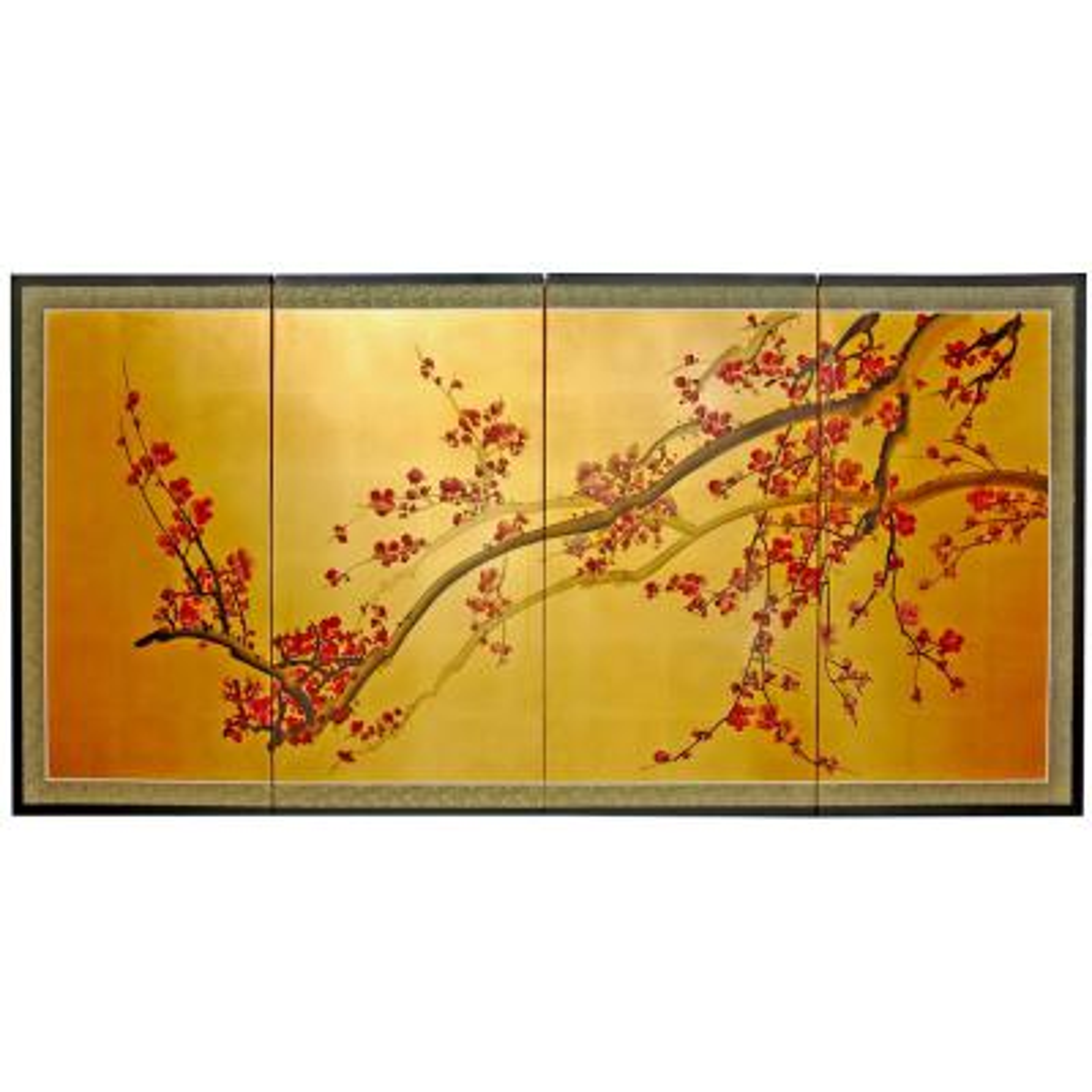 "24 in. x 48 in. ""Plum Tree on Gold Leaf Silk Screen"" Wall Art"