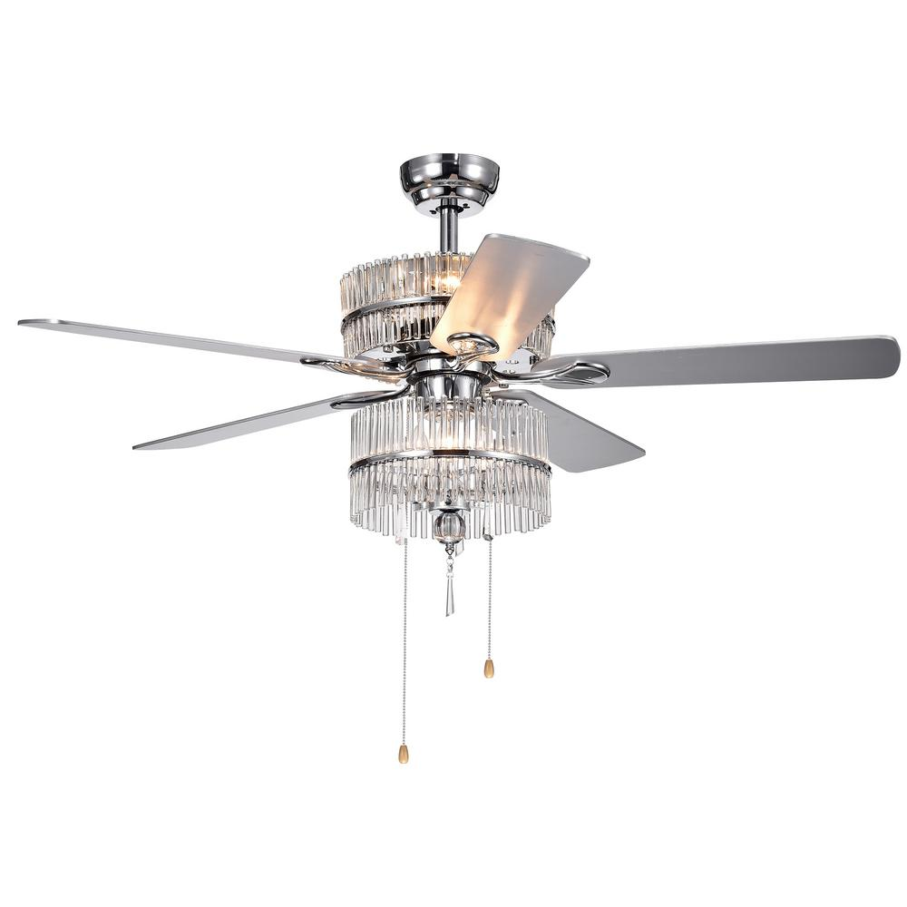 Warehouse of Tiffany Wyllow 52 in. Indoor Chrome Ceiling Fan with Light Kit