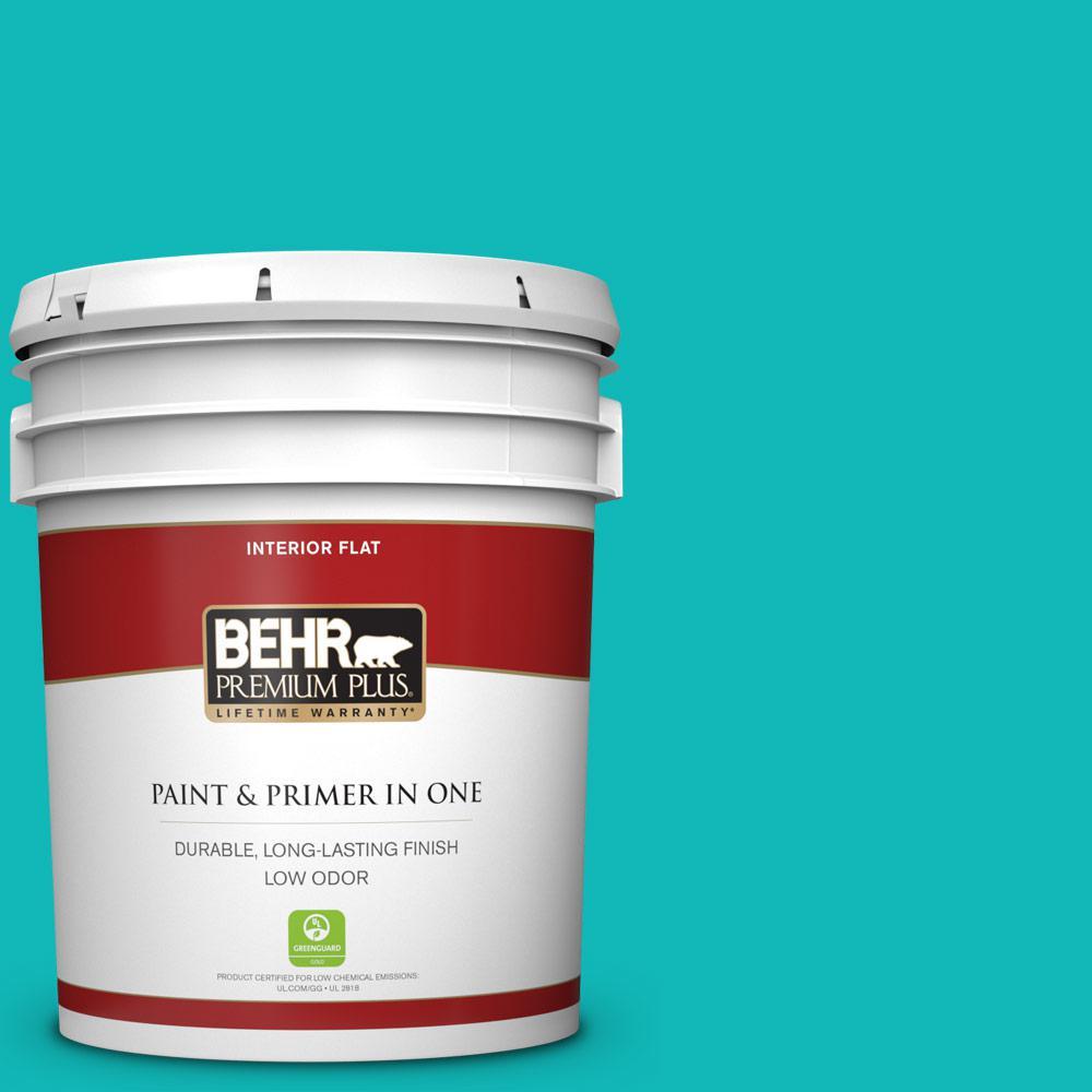 BEHR Premium Plus 5 gal. #MQ4-21 Caicos Turquoise Flat Low Odor Interior  Paint and Primer in One