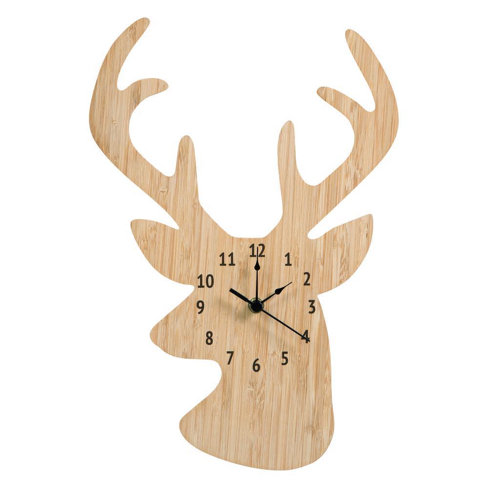 Bamboo Stag Head Wall Clock