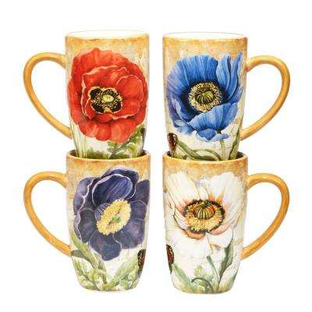 Poppy Garden 14 oz. Multi-Colored Ceramic Mugs (Set of 4)