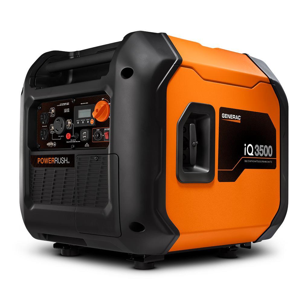Generac iQ3500 3500-Watt Gasoline Powered Electric Start Portable Inverter Generator with PowerRush Technology 50 State/CSA