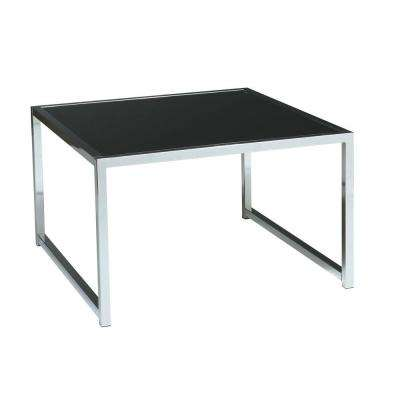 Yield Chrome and Black Glass Top End Table