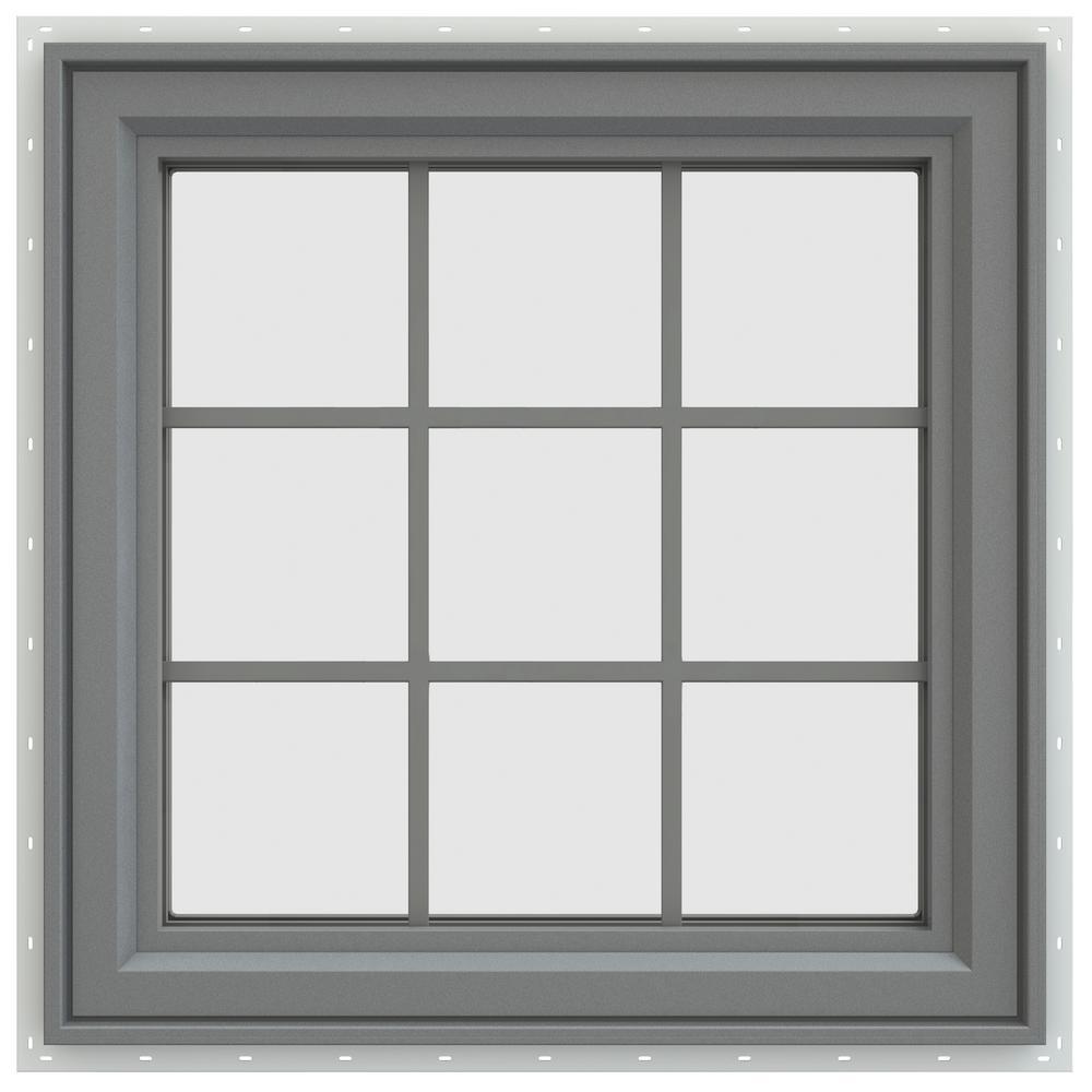 29.5 in. x 29.5 in. V-4500 Series Left-Hand Casement Vinyl Window with Grids - Gray