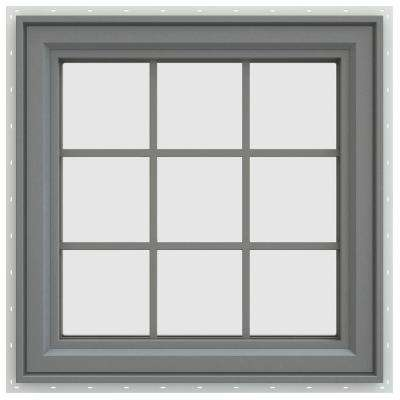 35.5 in. x 35.5 in. V-4500 Series Right-Hand Casement Vinyl Window with Grids - Gray